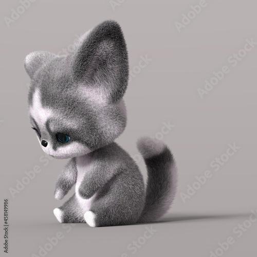 Fototapeta premium 3D-illustration of a sad cartoon fox. isolated rendering object