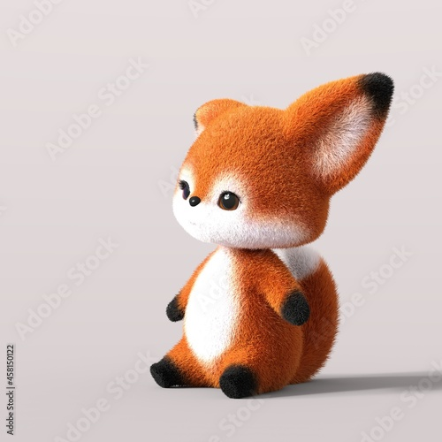 Fototapeta premium 3D-illustration of a cute and funny sitting cartoon fox looking sadly. isolated rendering object