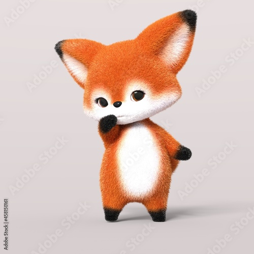 Fototapeta premium 3D-illustration of a cute and funny shy cartoon fox. isolated rendering object