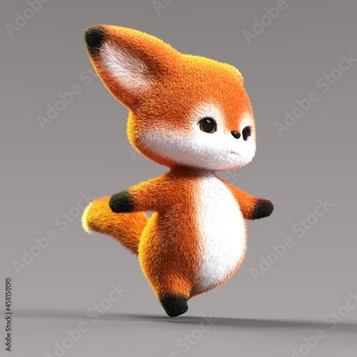 Fototapeta premium 3D-illustration of a cute and funny cartoon fox waljing energetic. isolated rendering object