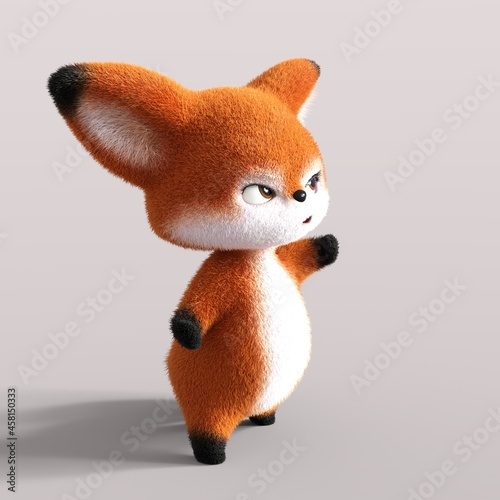 Fototapeta premium 3D-illustration of a cute and funny cartoon fox showing something. isolated rendering object