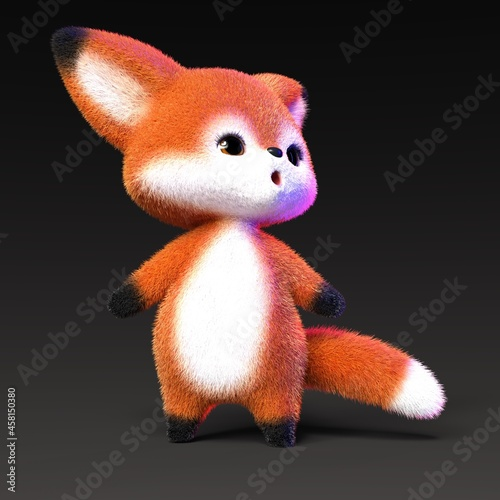 Fototapeta premium 3D-illustration of a cute and funny cartoon fox looking corious. isolated rendering object