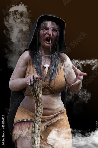 Fotografiet 気持ち悪い魔女が呪文を唱えながら襲いかかってくる