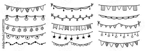 Billede på lærred Party garland set with flag, bunting, pennant