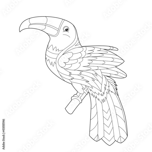Fototapeta premium Contour linear illustration for coloring book with decorative pretty toucan. Beautiful cute bird, anti stress picture. Line art design for adult or kids in zen-tangle style, tatoo and coloring page.
