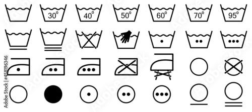 Set of washing symbols. Line art style. Laundry icons. Vector illustration isolated on white background
