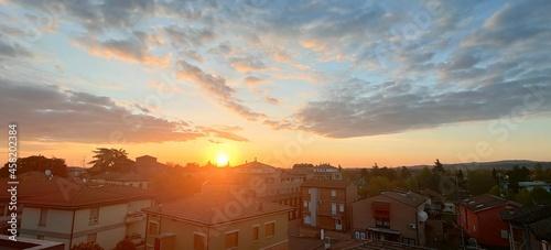 Fotografie, Obraz beautiful sunset over small emilian country bibbiano reggio emilia