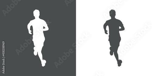 Fotografie, Obraz Logotipo con silueta de corredor en fondo gris y fondo blanco