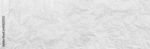 Fototapeta Panorama white paper wrinkled texture background.