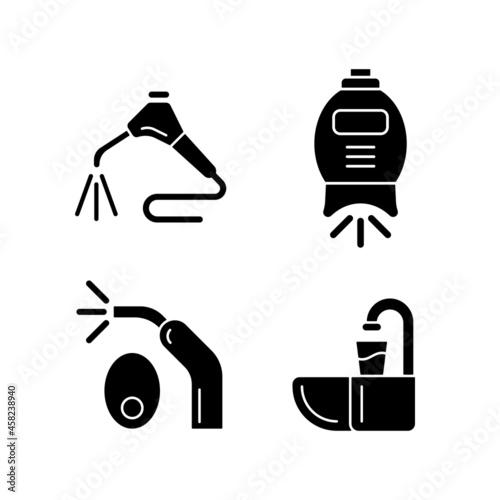 Fotografia Going to dentist black glyph icons set on white space