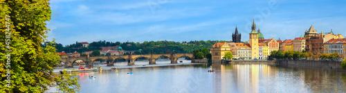 Fotografia View of Charles Bridge and panoramic of Prague , Czech Republic