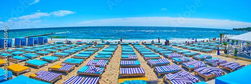 Canvas Print Panorama of Otrada Beach with blue trestle beds, Odessa, Ukraine