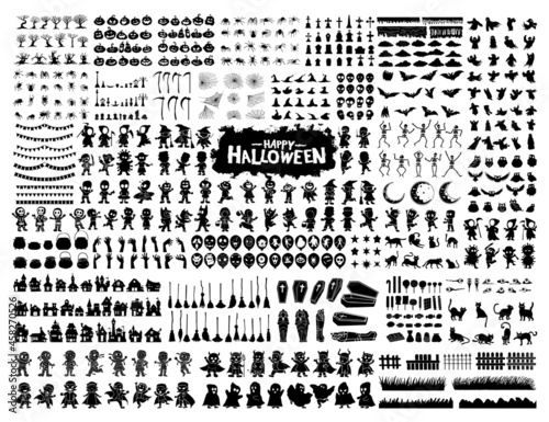 Halloween silhouette character set collection for celebration, template and deco Fototapet