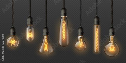 Canvastavla Realistic edison light bulbs
