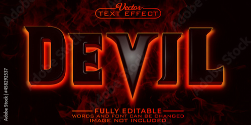 Horror Devil Fire Editable Text Effect Template Fototapet