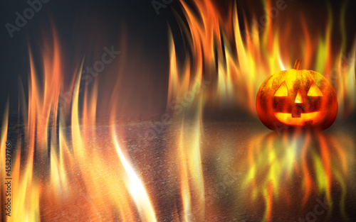 Obraz na plátně Dark fire background Halloween