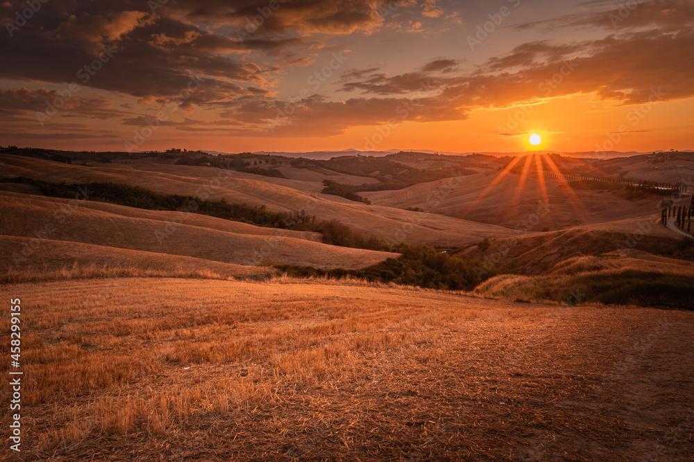 Zachód słońca w Toskanii