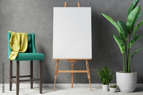 Canvas Print Blank canvas on wooden easel with plant