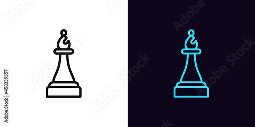 Billede på lærred Outline chessman bishop icon, with editable stroke