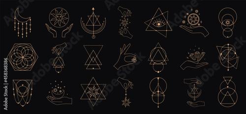 Obraz na plátně Big vector set of magic and astrological symbols