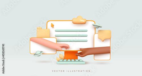 Communication through electronic gadgets. Desktop computer, mobile phone, modern tablet, Realistic 3d design. Creative concept idea social networks, hands outstretched connect. Vector illustration