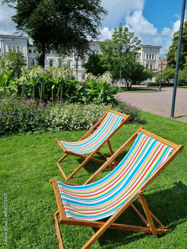 Chaise lounge for relaxing in a garden Fototapeta