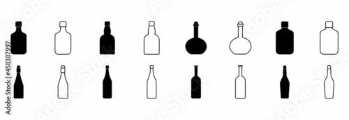 Fotografie, Obraz wine bottle icon set, wine bottle vector set symbol