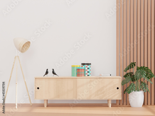 Obraz na plátně Living Room And White Wall, And Wooden Sideboard, Minimal Style ,mock Up And Cop