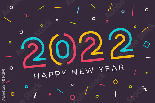 Fototapeta Vector Happy new year 2022 background with retro geometric colorful text and explosion of geometric shapes