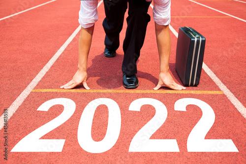 Fotografia, Obraz Business man Start to new year 2022 plans