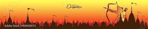 Fotografie, Obraz Vector illustration of Dhanush or Bow on a Rangoli background for Dussehra festival