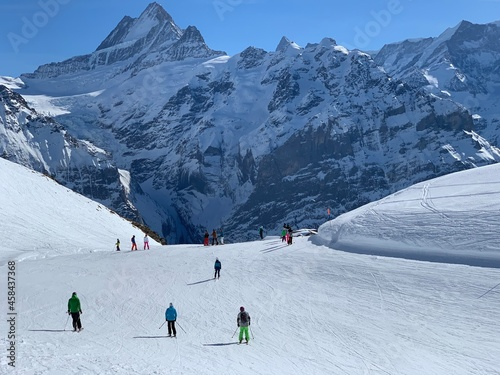 Fotografie, Obraz People Skiing On Snowcapped Mountain On Grindelwald