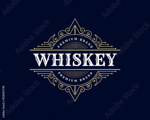 Fototapeta Vintage luxury royal frame labels with typography logo for beer whiskey alcohol