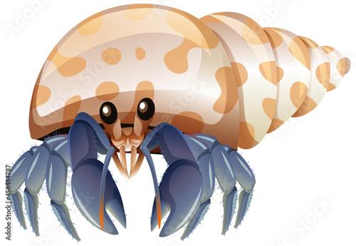 Fotografie, Obraz Hermit Crab in cartoon style on white background
