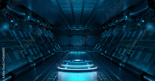 Photo Blue spaceship interior with projector