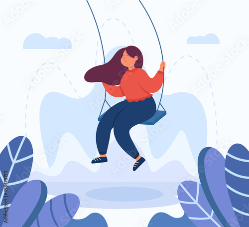 Fotografiet Adult female cartoon character swinging on swing