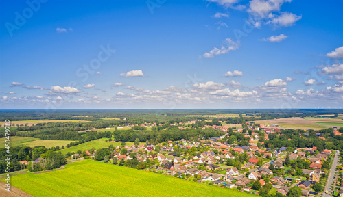 Fotografie, Obraz Aerial view of lowland village in northern Germany