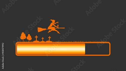 Fotografiet Flying young witch silhouette on a broomstick and loading bar