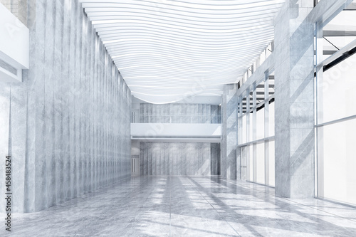 Fotografie, Obraz rendering empty corridor or building interior design with light effect