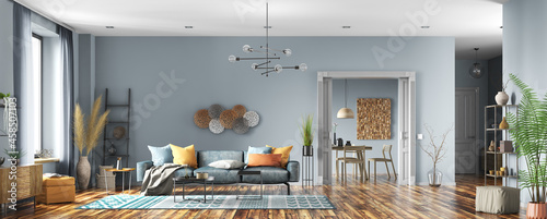 Interior design of modern apartment, living room and dining room. Home design. Panorama 3d rendering