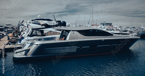 Fototapeta luxury yachts in the bay