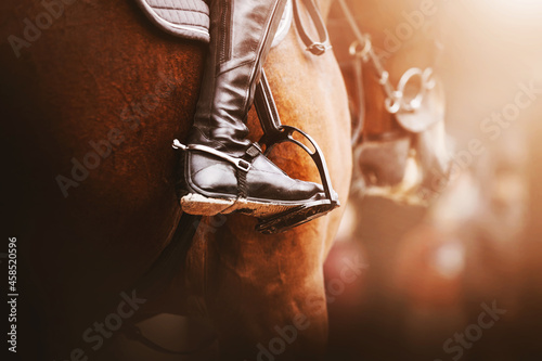 Obraz na plátne A rider in black boots with spurs sits on a bay racehorse in the saddle with stirrups, illuminated by sunlight