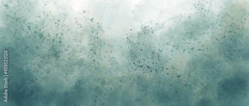 Billede på lærred light sea green sky gradient watercolor background with clouds texture