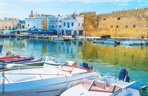Leinwand Poster Walk along the fishing boats, Bizerte, Tunisia