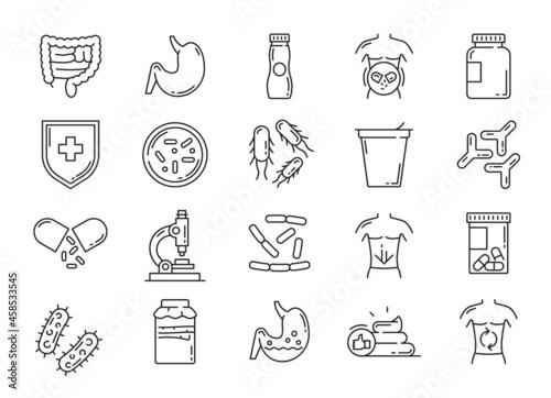 Obraz na plátně Probiotic, lactobacillus and prebiotic bacteria icons