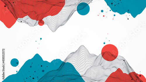 Abstract wireframe mountain background. Modern science or technology art elements. Surface illustration. Vector.