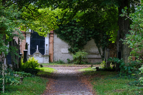 Fototapeta Historic antique old Südfriedhof graveyard cemetery with ancient tombstones, rel
