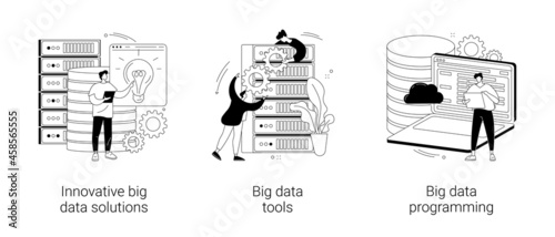 Big data business software abstract concept vector illustrations.