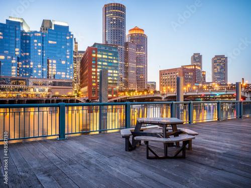 Fotografie, Obraz Boston Harbor and Financial District