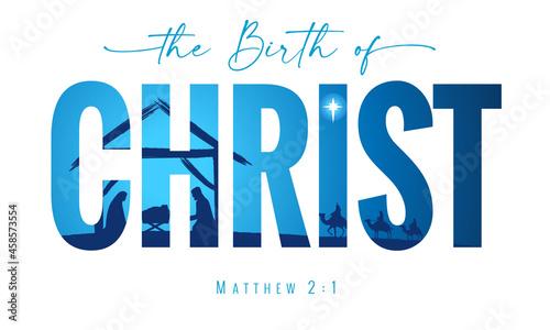 Fotografia, Obraz The birth of Christ elegant lettering typography